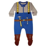 Sozo® Size 6-9M Mr. Fixit Footed Romper in Blue/Grey