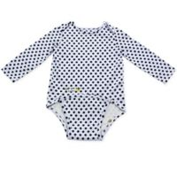 EZ-On BaBeez™ Newborn Black Dot Long Sleeve Bodysuit in White