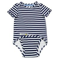 EZ-On BaBeez™ Size 6-9M Stripe Short Sleeve Bodysuit in Blue/White