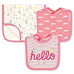 "Gerber® 3-Piece Organic Cotton ""Hello"" Bib and Burp Set in Coral"