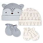 Gerber® Size 0-6M 4-Piece Organic Cotton Fox Cap and Mitten Set in Grey