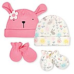 Gerber® Preemie 4-Piece Bunny Cap and Mitten Set in Coral