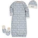 Gerber® Preemie 3-Piece Hello Organic Cotton Gown, Cap, and Bootie Set in Grey/Ivory