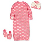 Gerber® Size 0-6M 4-Piece Organic Cotton Gown, Booties and Hat Set in Coral