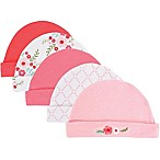 Luvable Friends® Size 0-6M 5-Pack Floral Caps in Pink
