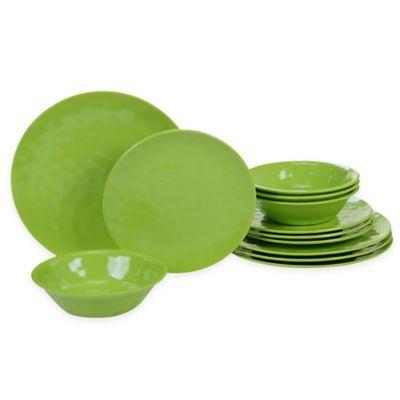Certified International 12-Piece Melamine Dinnerware Set in Green  sc 1 st  Bed Bath \u0026 Beyond & Buy Green Dinnerware Sets from Bed Bath \u0026 Beyond