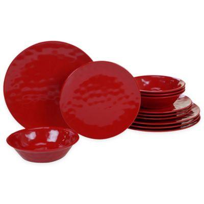 Certified International 12-Piece Melamine Dinnerware Set in Red  sc 1 st  Bed Bath \u0026 Beyond & Buy Melamine Dinnerware Sets from Bed Bath \u0026 Beyond