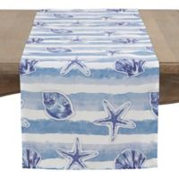 Saro Lifestyle 72-Inch Coquille Table Runner in Aqua