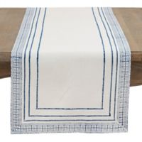 Saro Lifestyle 72-Inch Kabru Border Hand-Block Table Runner in Indigo