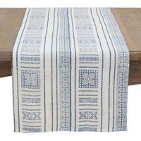 Saro Lifestyle 72-Inch Kabru Squares Hand-Block Table Runner in Indigo