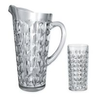 Red Vanilla Diamond Crystal 2-Piece Water Pitcher and Glass Set