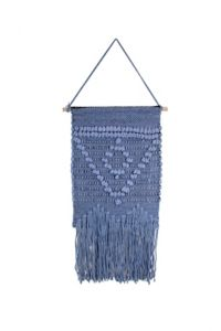 Marmont Hill Blue Triangle Macrame 12-Inch x 24-Inch Wall Hanging