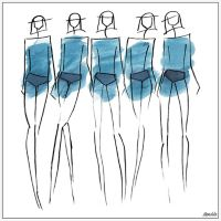 Marmont Hill Collective Blue Bottoms 16-Inch Square Framed Wall Art