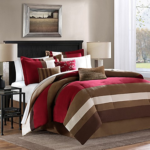 Loreto 7-Piece Queen Comforter Set in Red