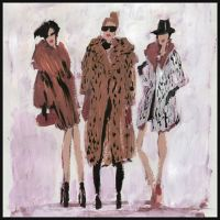 Marmont Hill Collective Fur Coats 18-Inch Square Framed Wall Art