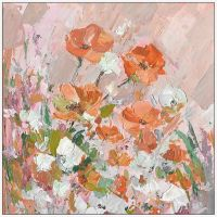 Marmont Hill Peachy Petals 20-Inch Square Floater Frame Canvas Wall Art