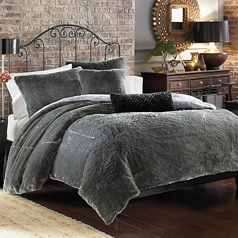 Seal Rabbit Faux Fur Duvet Cover Set Grey Bed Bath