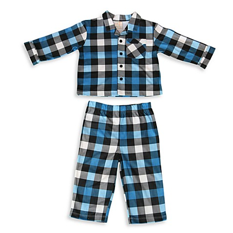 Absorba® Size 12 Months Pajamas in Blue Plaid (2-Piece Set)