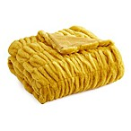 Leone Faux Fur Throw Blanket in Mustard