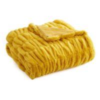 Leone Faux Fur Throw Blanket in Mustard