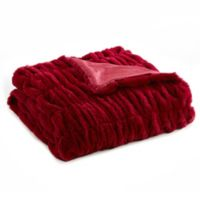 Leone Faux Fur Throw Blanket in Red