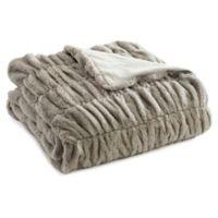 Leone Faux Fur Throw Blanket in Grey