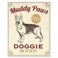 """Astra Art """"Muddy Paws Doggie Wash"""" 11-Inch x 14-Inch Metal Wall Art in Red"""