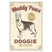 """Astra Art """"Muddy Paws Doggie Wash"""" 16-Inch x 20-Inch Canvas Wall Art in Red"""