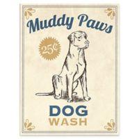 """Astra Art """"Muddy Paws Dog Wash"""" 16-Inch x 20-Inch Canvas Wall Art in Blue"""
