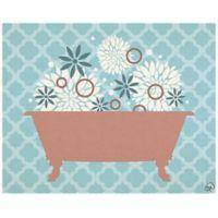 Astra Art Floral Bath 16-Inch x 20-Inch Canvas Wall Art in Blue