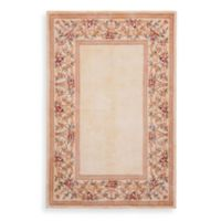 KAS Ruby Floral Border 3-Foot x 5-Foot Area Rug in Ivory