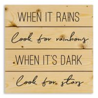 "Designs Direct ""Look for Rainbows"" 14-Inch Square Pallet Wood Wall Art"