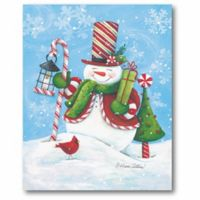 Courtside Market Happy Snowman with Cardinal 20-Inch x 16-Inch Canvas Wall Art