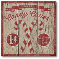 Courtside Market Candy Cane 16-Inch Square Frosted Canvas Wall Art