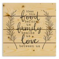Designs Direct Bless this Food, Family and Love 14-Inch Square Pallet Wood Art
