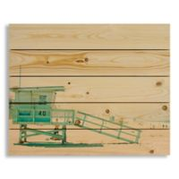 Designs Direct Blue Beach Tower 22-Inch x 18-Inch Pallet Wood Art