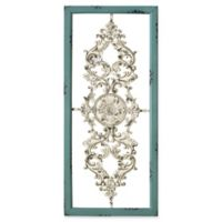 Stratton Home Décor Scroll Panel Wall Art in Teal/White