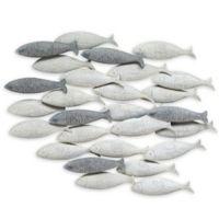 Stratton Home Décor Grey School of Fish 25-Inch x 36-Inch Wall Art