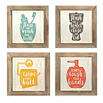 Stratton Home Decor Floss, Flush, Wipe, Wash 10-Inch Square Framed Wall Art (Set of 4)