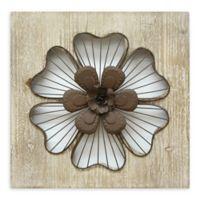 Stratton Home Decor Rustic Flower 14-Inch Square Metal Wall Art in Espresso