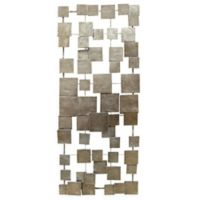 Stratton Home Décor Geometric Tiles 14-Inch x 32.25-Inch Wall Art in Champagne