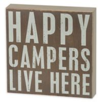 """Primitives by Kathy """"Happy Campers"""" Box Sign in Brown"""