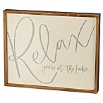 "Primitives by Kathy ""Relax Lake"" Box Sign in Beige"