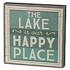 "Primitives by Kathy ""Lake Happy Place"" Box Sign in Green"