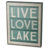 """Primitives by Kathy """"Live, Love, Lake"""" 12-Inch Square Wooden Wall Art"""