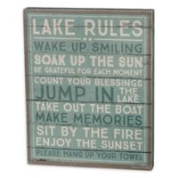 """Primitives by Kathy """"Lake Rules"""" Box Sign in Green"""