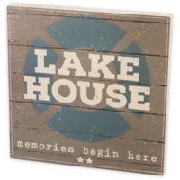 """Primitives by Kathy """"Lake House"""" Box Sign in Grey"""