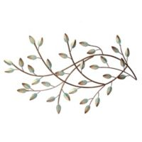 Stratton Home Décor Patina Blowing Leaves 29-Inch x 17-Inch Metal Wall Art