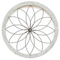 Stratton Home Décor Art Deco Flower 26-Inch Diameter Framed Metal Wall Art