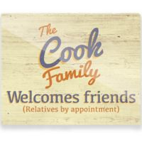 "Astra Art ""Welcomes Friends"" 11-Inch x 14-Inch Wall Art in Blue/Orange"